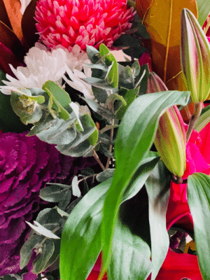 colourful bouquet of flowers close up